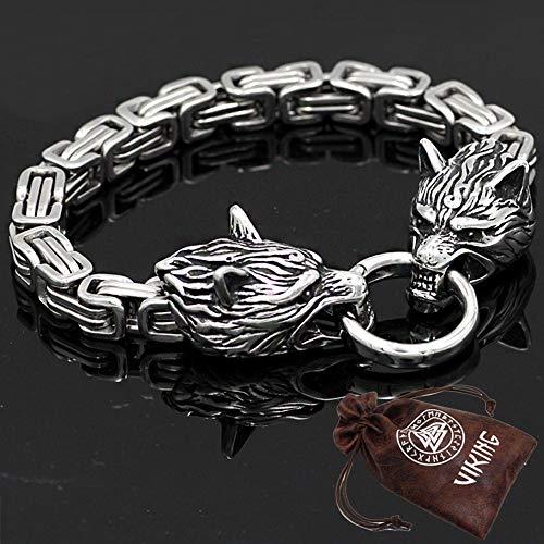 BBYaki Titan Stahl Herren Edelstahl Doppelkopf Viking Celtic Wolf Armband Odin King Dickes Armband Handgemachte Kette,19cm