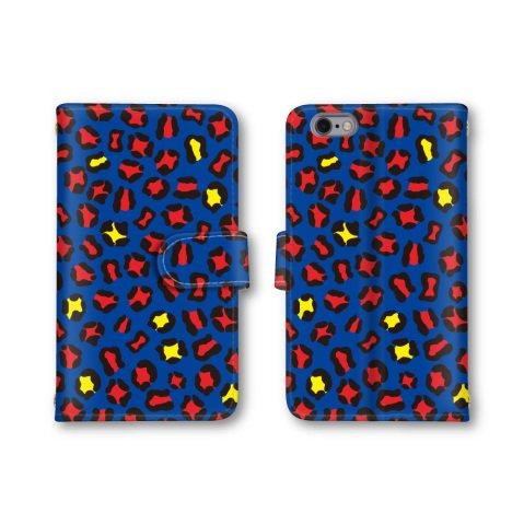 【ノーブランド品】 iphone7 スマホケース 手帳型 アニマル柄 ヒョウ柄 レオパード ブルー 青 かわいい おしゃれ 携帯カバー アイフォン7 ケース