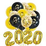 Graduación Globo 2020, Party Ballons Adornos, Decoración de Año Fiestas, 19 Piezas Incluye Globos de Confeti Globos de látex, Globos de Fiesta de Graduación (Golden)