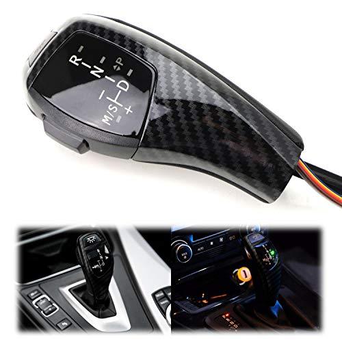 iJDMTOY F30 Style Carbon Fiber Finish LED Illuminated Shift Knob Gear Selector Upgrade Compatible with 06-12 BMW E90 3 Series Sedan, 07-10 E92 E93 3 Series Coupe/Convertible, 09-12 Z4, 10-12 X1, etc