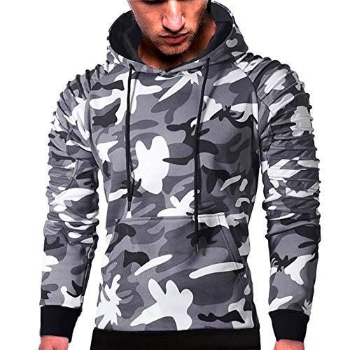 MRULIC Herren Langarm Camouflage Hoodie Sweatshirt Tops Oberbekleidung Kapuzenpulli mit Taschen RH-014(C-Grau,EU-46/CN-L)