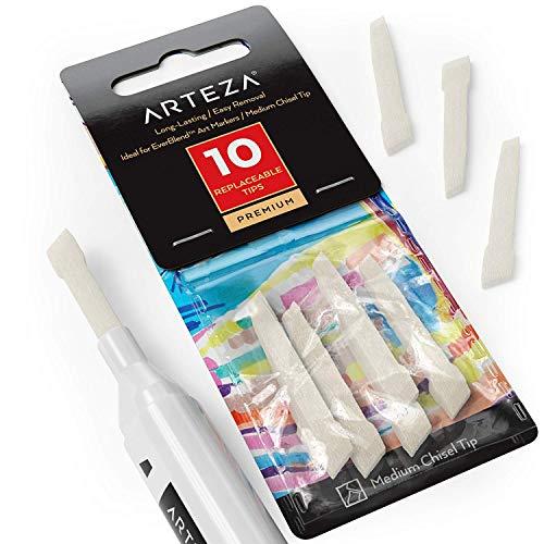 Arteza EverBlend vervangbare tips voor markeerstiften, 10 middelgrote beitel reservepunten voor kleuren, schilderijen, schetsen, schrijven en tekenen