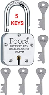 Foora ATOOT_65 Double Locking 65mm Steel Lock with 5 Keys Hardened Shackle & 8 Lever ( Silver ) (ATOOT 65mm Hardened Shackle)