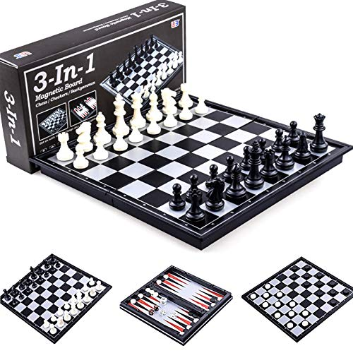 3 in 1 Magnetic Travel Chess Set with Folding Chess Board for Kids and Adults Checkers Backgammon International Chess Board Games Set