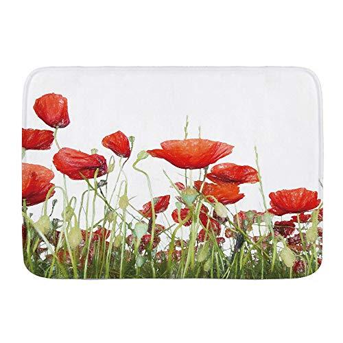VAMIX Badematten Handmalerei Mohnblume bedrucktes Bettlaken-Set,45x75cm Badematte rutschfest Waschbar Badezimmer Teppich Weiche Hochflor Badvorleger aus