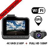 RWXING Dash CAM WiFi GPS 4K Ultra HD 3840X2160P Delantera Dashcam con 1080P Trasera Camara Vigilancia - Dual Cámara Grabadora con Visión Nocturna G-Sensor Detección de Movimiento para Coche