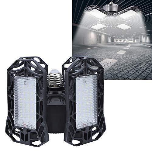 Luz LED de almacén, luz de almacén, negro, 4 paneles, iluminación E27 plegable para garaje de almacén, 96 chips de luz LED