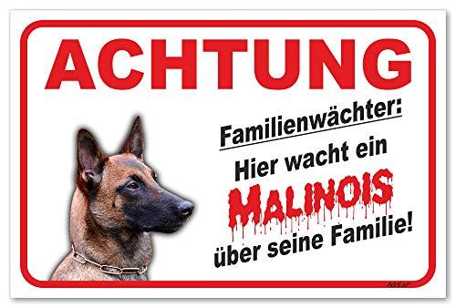 AdriLeo Schild - Vorsicht Malinois - Familienwächter - (20x30cm) / Achtung Hund Wachhund