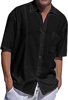 Mens Linen Shirt Short Sleeve Summer Shirt Cotton Button Down Leisure Business Regular Fit Casual Plain Tops for Men