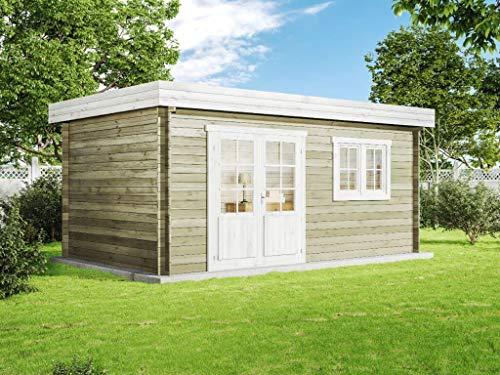 Alpholz Gartenhaus Pultdach 28 mm Spree A aus Massiv-Holz | Gerätehaus mit 28 mm Wandstärke | Garten Holzhaus mit Imprägnierung (pinie) | Geräteschuppen Größe: 500 x 300 cm | Pultdach