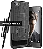Encased iPhone 6 Plus/6s Plus Belt Case with Holster Clip (DuraClip) Slim Fit Cover with Holder (Smooth Black)