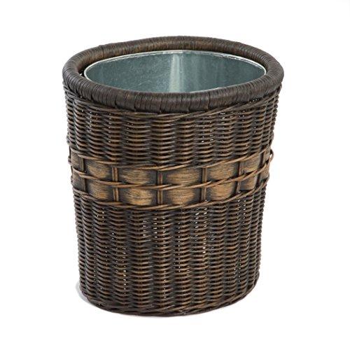 The Basket Lady Oval Wicker Waste Basket 115 in W x 95 inD x 12 in H Antique Walnut Brown