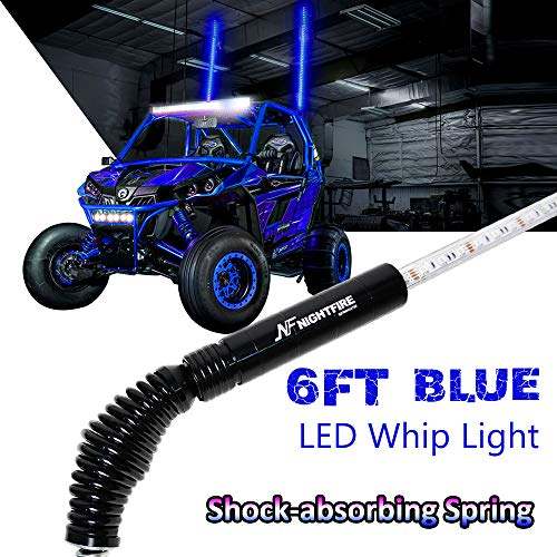 6FT Blue LED Whip Light Flag Pole w/Quick Release Shock-absorbing Spring Lighted Whips for RZR Polaris ATV Flags UTV Antenna Quad Whips(One Unit)