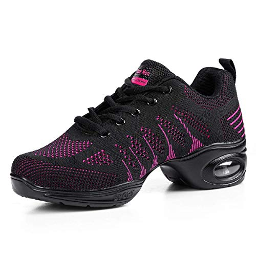 Women's Jazz Shoes Lace-up Sneakers - Breathable Air Cushion Lady Split Sole Athletic Walking Dance Shoes Platform Black&Pink,8.5