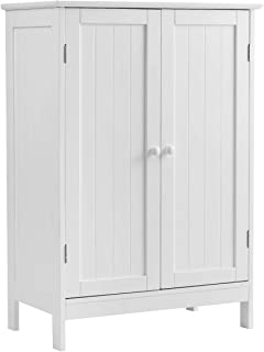 Tangkula Bathroom Floor Cabinet, Wooden Floor Storage Cabinet, Living Room Modern Home Furniture Free Standing Storage Cabinet, 23.5x14x34 inches (White)