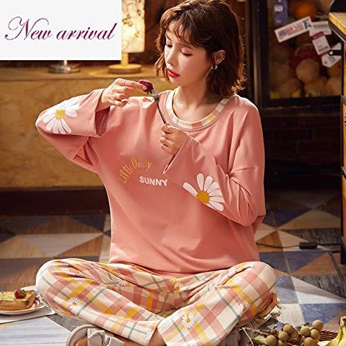Traje De Pijama Manga Larga Cálido Casual Mujerconjunto De Pijama De Manga Larga Pijama De Cuadros Escoceses De Algodón Estampado Pijama Cómodo Cálido Rosa Suave, XL