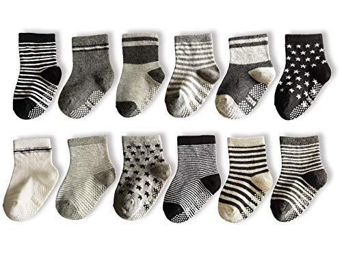 CXP Good Goods 12 pairs Baby Socks Anti Slip Skid Socks Toddler Socks with Grip Baby Walker Ankle Cotton Infant Socks for Boys (12-36 Months)