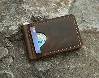 Personalized Distressed leather card wallet, Men leather slim Money clip wallet,Minimalist slim card Bifold wallet