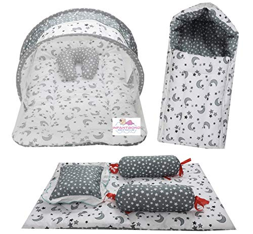 Infantbond Combo of Baby Bed with Net | Carry Bag | 4 Pcs Bedding Set(0-6 Months) (Star & Moon Grey)