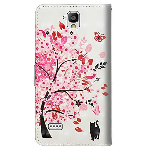 Sunrive Hülle Für Huawei Y5 (Y560), Magnetisch Schaltfläche Ledertasche Schutzhülle Etui Leder Case Cover Handyhülle Tasche Schalen Lederhülle(Baum Katze) - 3