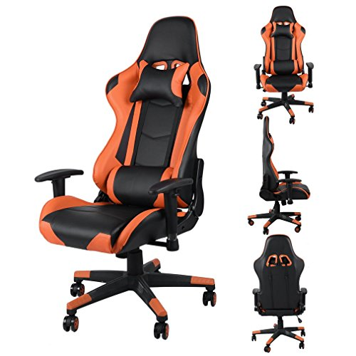 Gaming Stuhl, Racing Stuhl, Bürostuh mit Kopfstütze und Lendenkissen, höhenverstellbar, bis 150 kg belastbar (Orange)