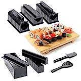 11 Stück Komplett DIY Sushi Maker Kit mit 5 Formen, Reisgabel & Spatel, Messer| 100% BPA-frei, Einfach zu Reinigen & Verwenden, Spülmaschinenfest - Selber Machen, Anfänger| Anweisungen Enthalten.