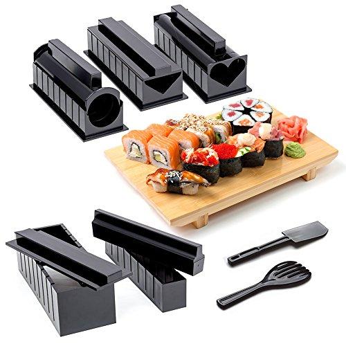 OS Oak & Steel Kit Sushi Completo con Sushi Make, 11 Pezzi - 5 Stampi, Forchetta e Spatola per Riso, Coltello e Istruzioni Incluse