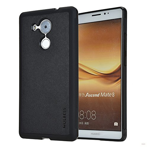Mulbess Handyhülle für Huawei Mate 8 Hülle, Shockproof Anti-Rutsch, Anti-Scratch, Soft TPU Silikon Case Schutzhülle für Huawei Mate 8 Tasche, Schwarz