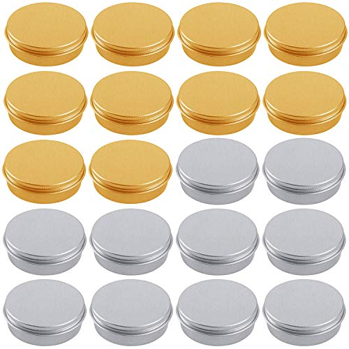 HNXAZG 60 mL Aluminum Tin Cans 2 oz Metal Empty Tins with Screw Top Lids Round for Store Spices Cosmetic Lip Balm Candles 20 Pack