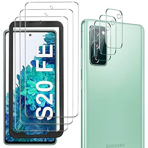 GESMA Schutzfolie Kompatibel mit Samsung Galaxy S20 FE Panzerglasfolie, 3 Stück Schutzfolie & 3 Stück Kamera Schutzfolie, Mit Positionierhilfe, 9H Festigkeit, HD Klar Glas Bildschirmschutzfolie.