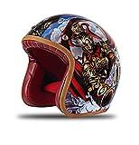 Casco de Motocicleta Harley, Casco de Jet con certificación de Punto Abierto Casco Retro Jet con Forro extraíble para el Verano al Aire Libre (S, M, L, XL, XXL),L