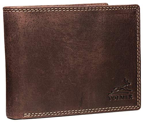 Fa.Volmer ® Echt-Leder Geldbörsen Herren mit RFID Schutz (Braun Quer)