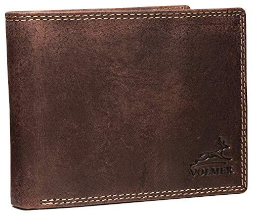 Fa.Volmer ® Braune Vintage Ledergeldbörse aus geöltem Büffelleder Querformat RFID Schutz - TÜV geprüft - #VO13B