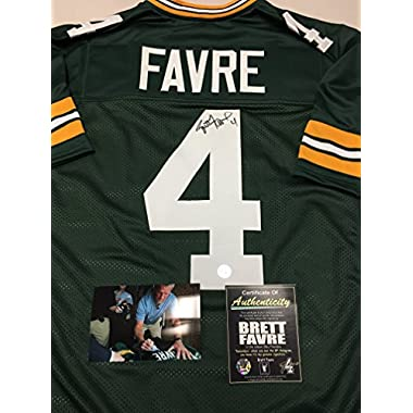 Brett Favre Autographed Signed Green Bay Packers Custom Green Jersey Favre COA & Hologram W/Photo From Signing