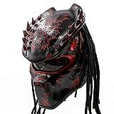 Predator Motorcycle Helmet - DOT Approved - Unisex - Red Spiked