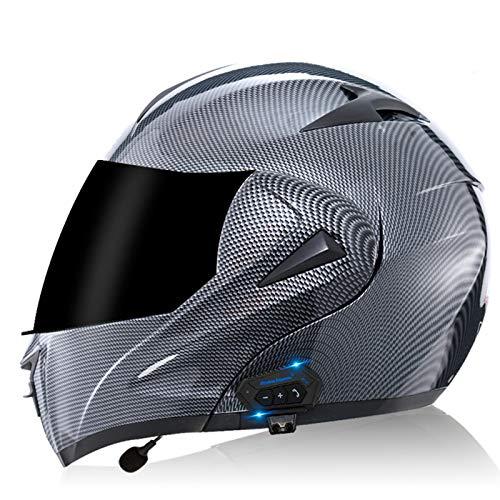 ZLYJ Bluetooth Casco para Motocicleta,Casco Modular Casco Cara Completo Casco Moto Integral con Anti-Niebla Doble Visera, Manos Libres MP3 FM, ECE Homologado A,XL