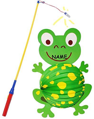 alles-meine.de GmbH 2 TLG. Set _ Papier Laterne + Laternenstab -  lustiger Frosch  - incl. Name - Lampion für Kinder / Papierlaterne - Laternen Lampions - Figuren - für Laterne..