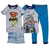Komar Kids Boys 4 Piece Cotton Pajamas Sleepwear Set with Shorts and Pants (Justice League, 3T) Blue, Grey