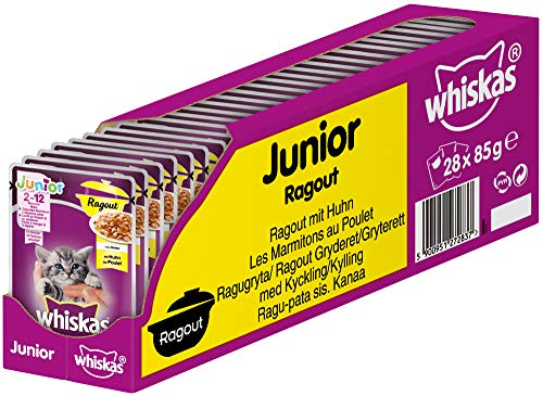 Whiskas Junior Ragout – Huhn in Gelee – Für Katzen von 2 - 12 Monaten – 28 Portionsbeutel à 85g