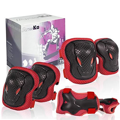 AresKo Knieschoner Kinder, Inliner für Kinder Protektoren Knieschützer Set, 6 in 1 Ellenbogenschoner Handgelenkschoner Schutzausrüstungen Set