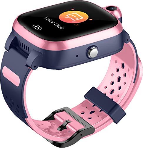 4G Orologio Intelligente per Bambini - GPS Smart Watch con Posizione Impermeabile in Tempo Reale WIFI Videochiamata Messaggio Pedometro Geofence SOS Anti-Perso per Ragazzi e Ragazze (Rosa)