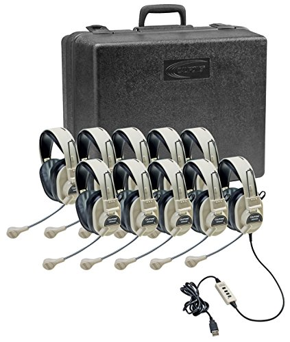 Affordable Califone 3066USB-10 Multimedia Headset Kit (10 Headsets with Storage Case)