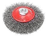 Spazzola Circolare Conica Per Smerigliatrice Angolare. Fili In Acciaio Ondulati. In Blister.