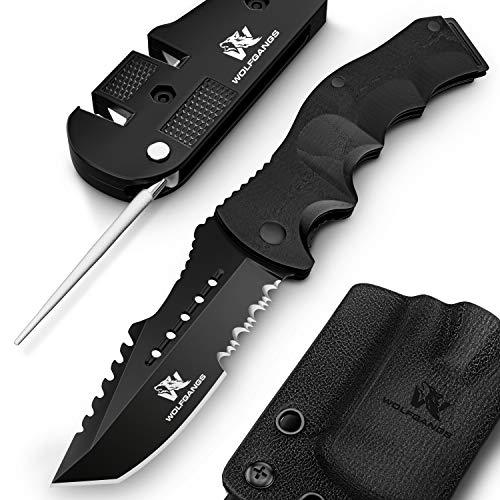 Wolfgangs UNDIQUE Zweihand-Messer aus 440C Stahl I Survival-Messer mit Multifunktions-Klinge I Outdoor-Messer Klapp-Messer Taschen-Messer