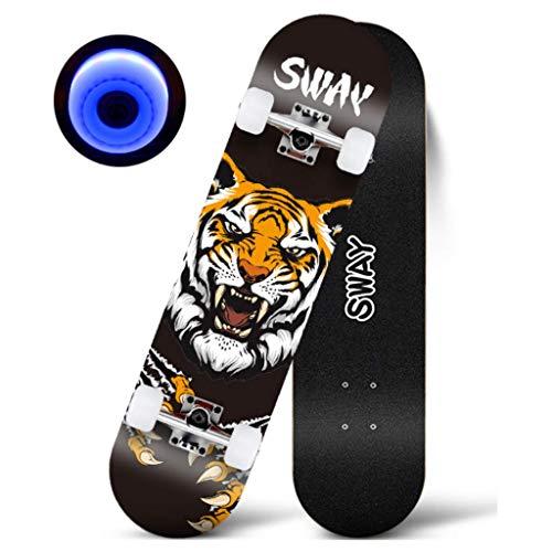 ZKDX Skateboard Standard-Skateboards Cruiser Komplett 7 Schichten Ahorndoppel Kick-Concave Skate Boards MXY