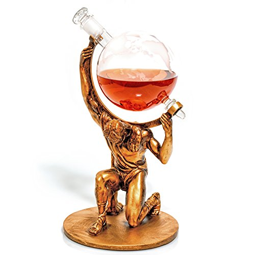 Atlas Etched Globe Liquor Decanter - Whiskey Decanter -1000ml- Anniversary Gift for Couple, Unique Retirement Gifts for Men & Women, Father's Day Gift for Husband (Atlas: Bearer of Worldly Sp...