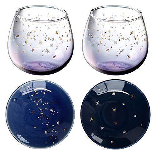 星空 オーロラグラデーション スインググラス ペアグラスセット 320ml 小皿付き 4点セット 日本製 豆皿 ト...