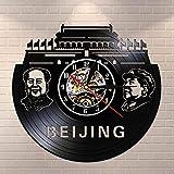 wtnhz LED Reloj de Pared de Vinilo Colorido Pekín Skyline Mural Disco de Vinilo Reloj de Pared Presidente Mao Retrato Reloj de Pared Vintage Regalos de Viaje de Pekín, China