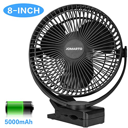 Desk Clip on Fan, JOMARTO Battery Operated Fan with 5000mAh, 4 Speeds & Strong Clamping Portable Cooling USB Rechargeable Fan for Baby Stroller Crib Treadmill Office Outdoor