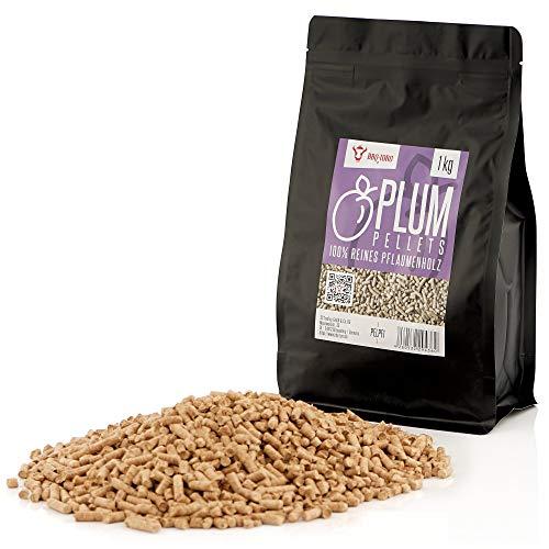 BBQ-Toro Plum Pellets aus 100% Pflaumenholz (1 kg) | Pflaumenpellets für Grill, Smoker, Pellet-Pizzaofen und Heizungsanlagen | Grillpellets